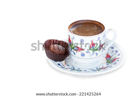 Traditional Turkish Coffee and chocolate isolated White background - stock photo