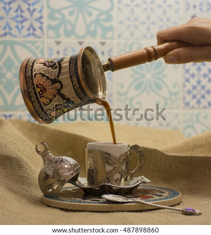Traditional Turkish coffee and pot