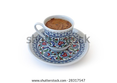 Traditional Turkish Coffee. Mocha. Isolated on white. - stock photo