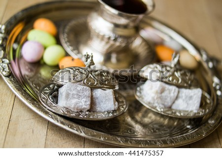 Traditional Turkish delight lokum in a silver tray