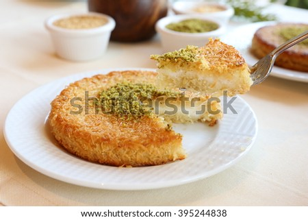 Traditional Turkish Dessert Kunefe - stock photo