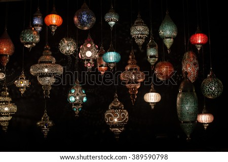 Traditional Turkish lanterns (hanging mosaic glass lamps) - stock photo