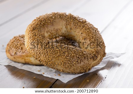 Traditional Turkish pastry rings consumed in holy days  - stock photo