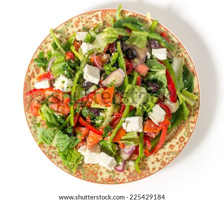 traditional Turkish salad, tossed with olive oil and herbs - stock photo