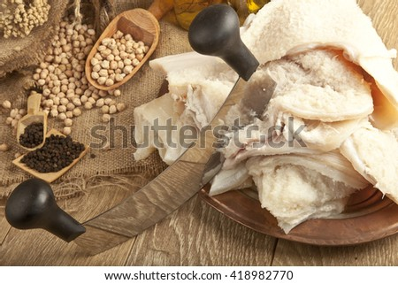 Traditional Turkish Soup iskembe sheep tripe, haggis ingredient with concept background on wooden table - stock photo