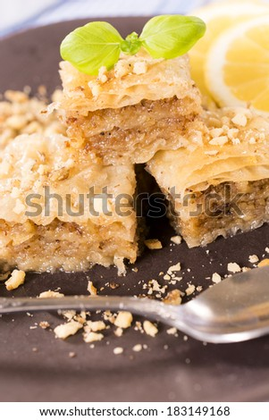 Traditional Turkish sweet baklava stuffed with walnuts