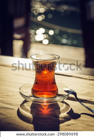 Traditional Turkish tea. Toned photo - stock photo