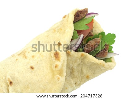Traditional Turkish wrap roll bread. Durum doner kebab. - stock photo