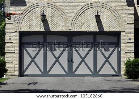 Traditional two car brick garage - stock photo