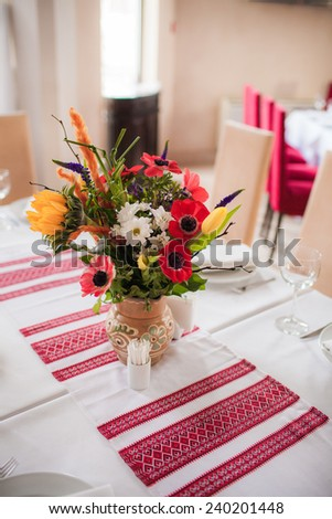 Traditional ukrainian decorations of the interiors indoor - stock photo