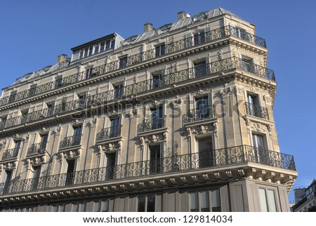 Traditional urban apartment house Paris, France. - stock photo