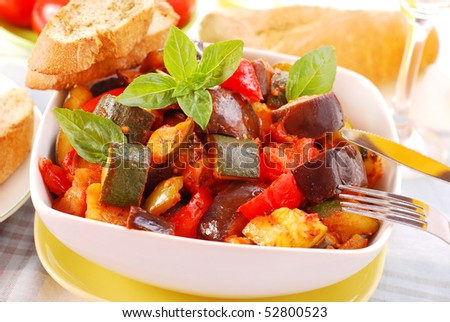 traditional vegetable ratatouille with baguette  for lunch - stock photo