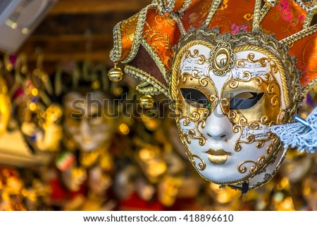 Traditional venetian mask in store on street, Venice Italy. / Venetian mask Italy. / Selective focus. - stock photo