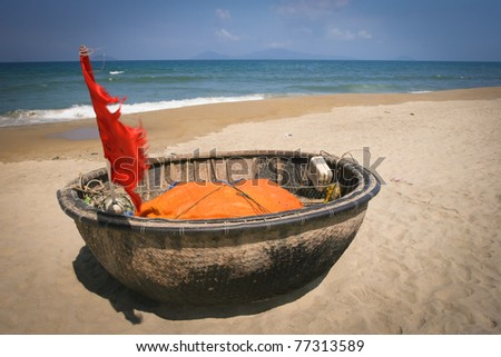 Traditional Vietnamese boat in the basket shaped , Mui Ne, Vietnam