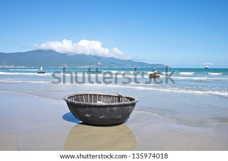 Traditional Vietnamese fishing boats in Mui Ne port, Vietnam - stock photo