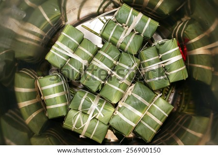 Traditional Vietnamese Stuffed sticky rice cake
