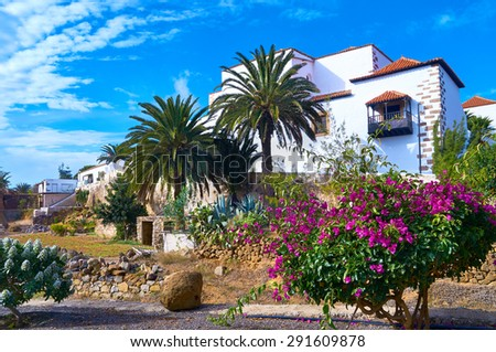 Traditional villa in Betancuria, an old capital of Fuerteventura, Canary islands, Spain - stock photo