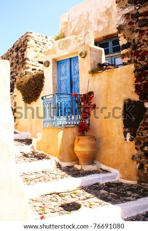 Traditional village of Thira at Santorini island in Greece - stock photo