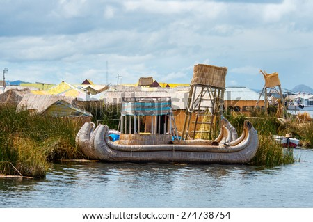 Traditional village on floating islands on lake Titicaca in Peru, South America  - stock photo
