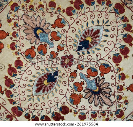 Traditional vintage embroidery from Uzbekistan.  - stock photo