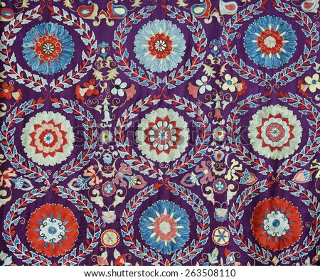 Traditional vintage embroidery from Uzbekistan - stock photo