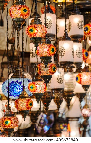 Traditional vintage Turkish lamps in The Grand Bazaar in Istanbul - stock photo