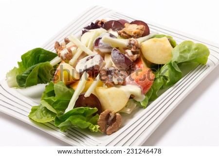 Traditional Waldorf Salad closeup at an angle.