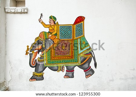 traditional wall painting in Udaipur at a local house - stock photo