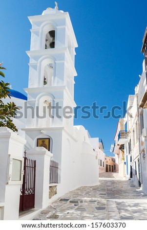 Traditional white bell tower at Tinos Island in Cyclades, Greece - stock photo