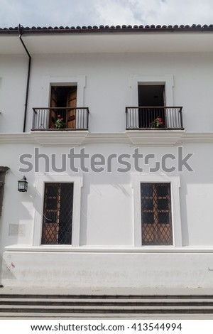 Traditional white building in colonial city Popayan, Colombia - stock photo