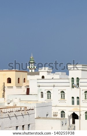 Traditional whitewashed house, Sur (Oman) - stock photo