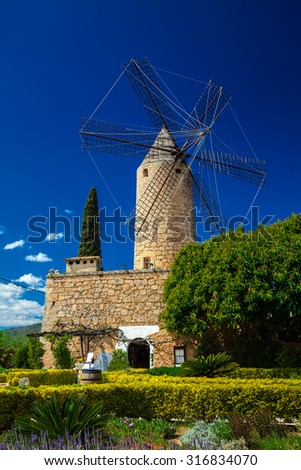 traditional windmill in the west part of Mallorca, Spain - stock photo