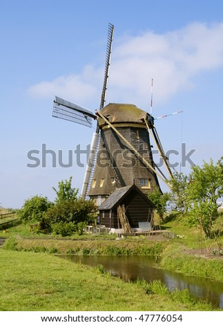 traditional windmill on kinderdijk
