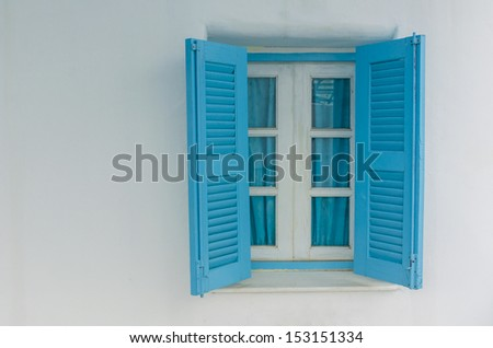 Traditional window in Santorini - stock photo