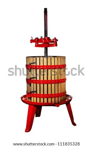 Traditional wine press isolated on white background - stock photo