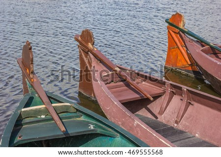 Traditional wooden boats in Giethoorn, The Netherlands