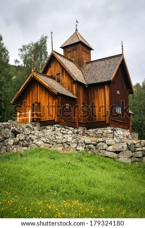 Traditional wooden church in Norway