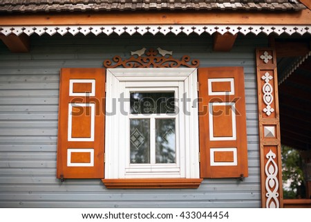 Traditional wooden house, Poland  - stock photo