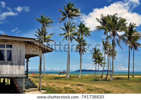 Traditional wooden house with Beautiful nature landscape of Terengganu, Malaysia,