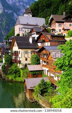 Traditional wooden houses of the Austrian village of Hallstatt - stock photo