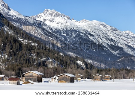 Traditional wooden hut in snow, Alps, Austrian