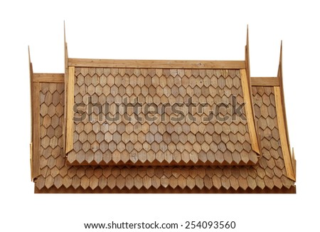 Traditional wooden roof of the old house. - stock photo