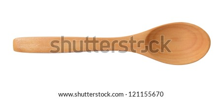 Traditional wooden spoon isolated on white background - stock photo
