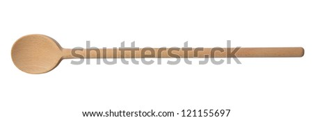Traditional wooden spoon isolated on white background
