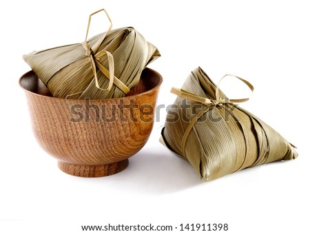 traditional wrapped rice dumplings - stock photo