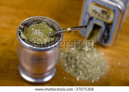 Traditional yerba mate tea popular in latin america - stock photo
