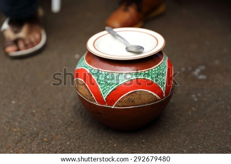 Traditional Zulu beer pot  - stock photo