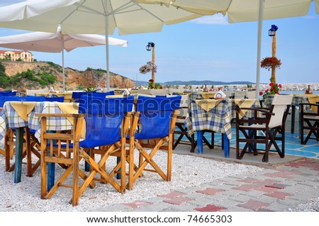 Traditionall Greek tavern, island Thassos, Greece - stock photo