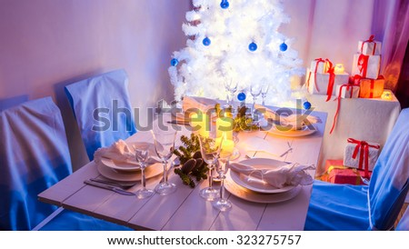Traditionally Christmas table setting