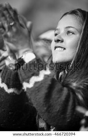 Traena, Norway - July 08 2016: audience at concert of Norwegian pop musician and singer Dagny Norvoll Sandvik at Traenafestival, music festival taking place on the small island of Traena